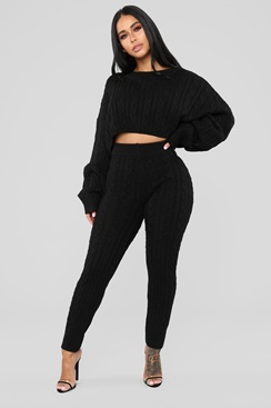 Stickad mysdress - All Day Long Set - Black