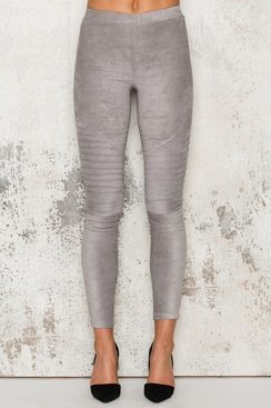 Tights med mockaeffekt - Grey Suede
