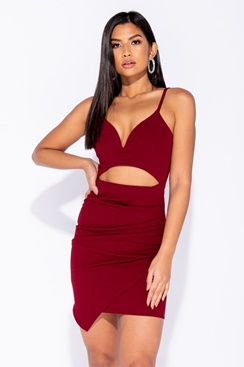 Cut Out Plunge Dress - Red