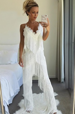 Fearless Fringe Pantsuit - White