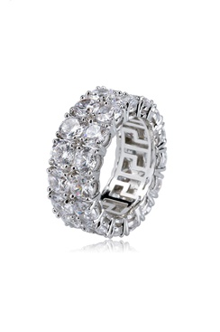 Bling ring - Double Row Eternity Ring White Gold
