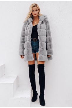 Michelle Faux Fur Coat - Grey