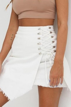 Myny Lace Up Skirt - White