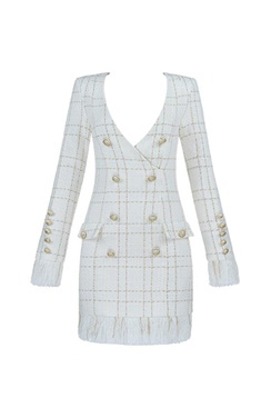 White dress with buttons and fringes - Francesca