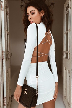 White dress with laced back - On Top