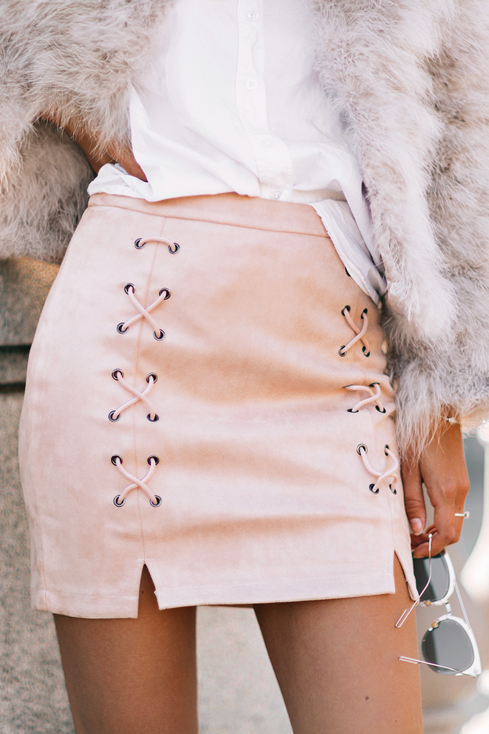 Lace Up Skirt - Nude