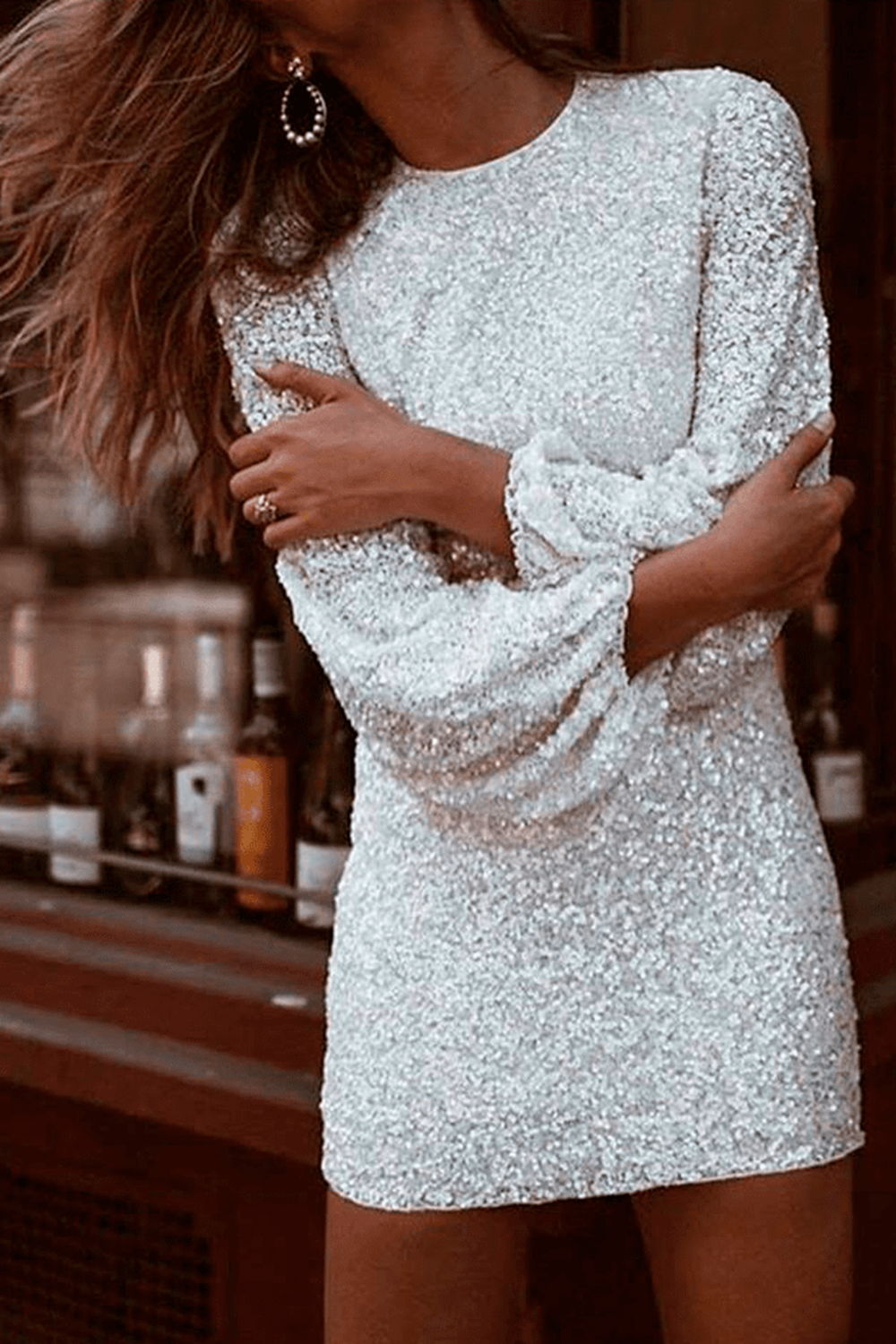 Long sleeve sequin dress - Louis
