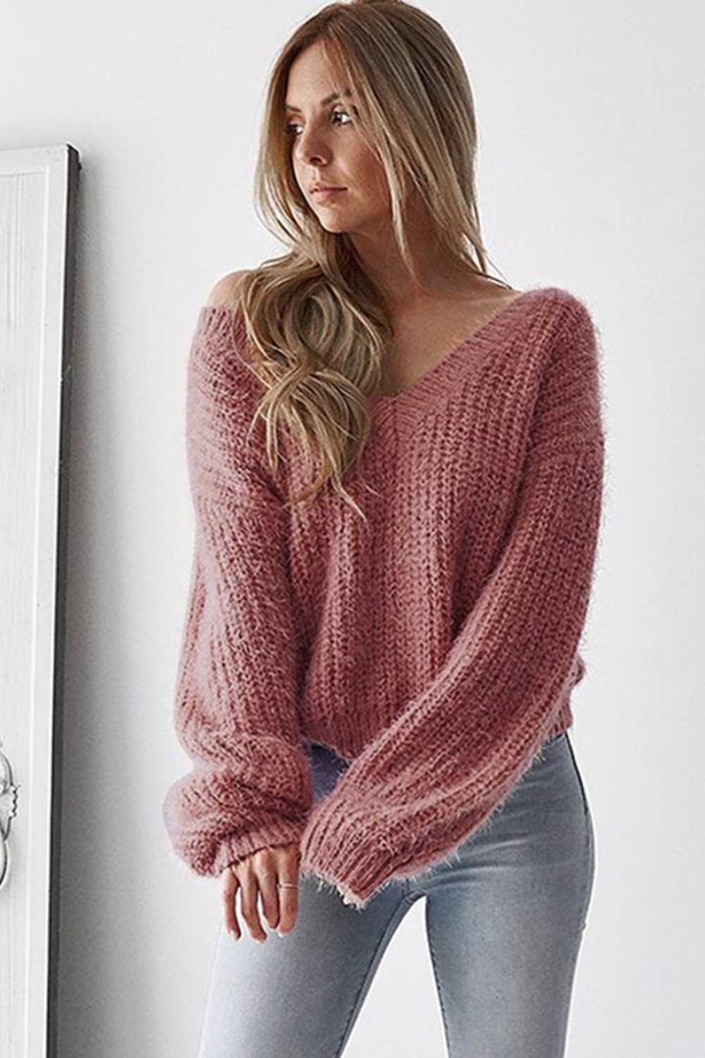 Pink sweater with open back - Laura