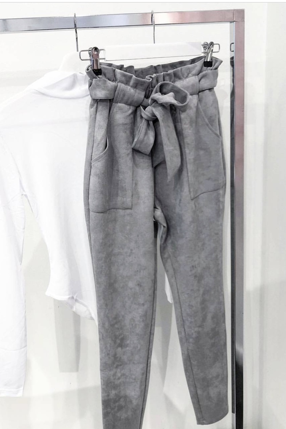 Suede Freya Pants - Grey
