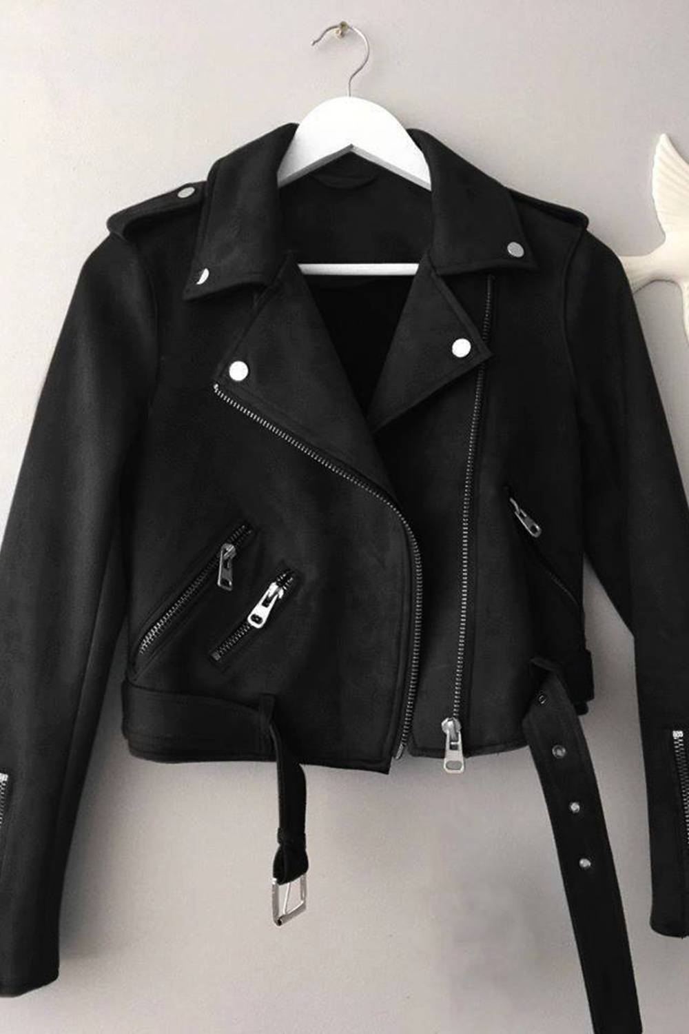Suede Zipper Jacket - Black