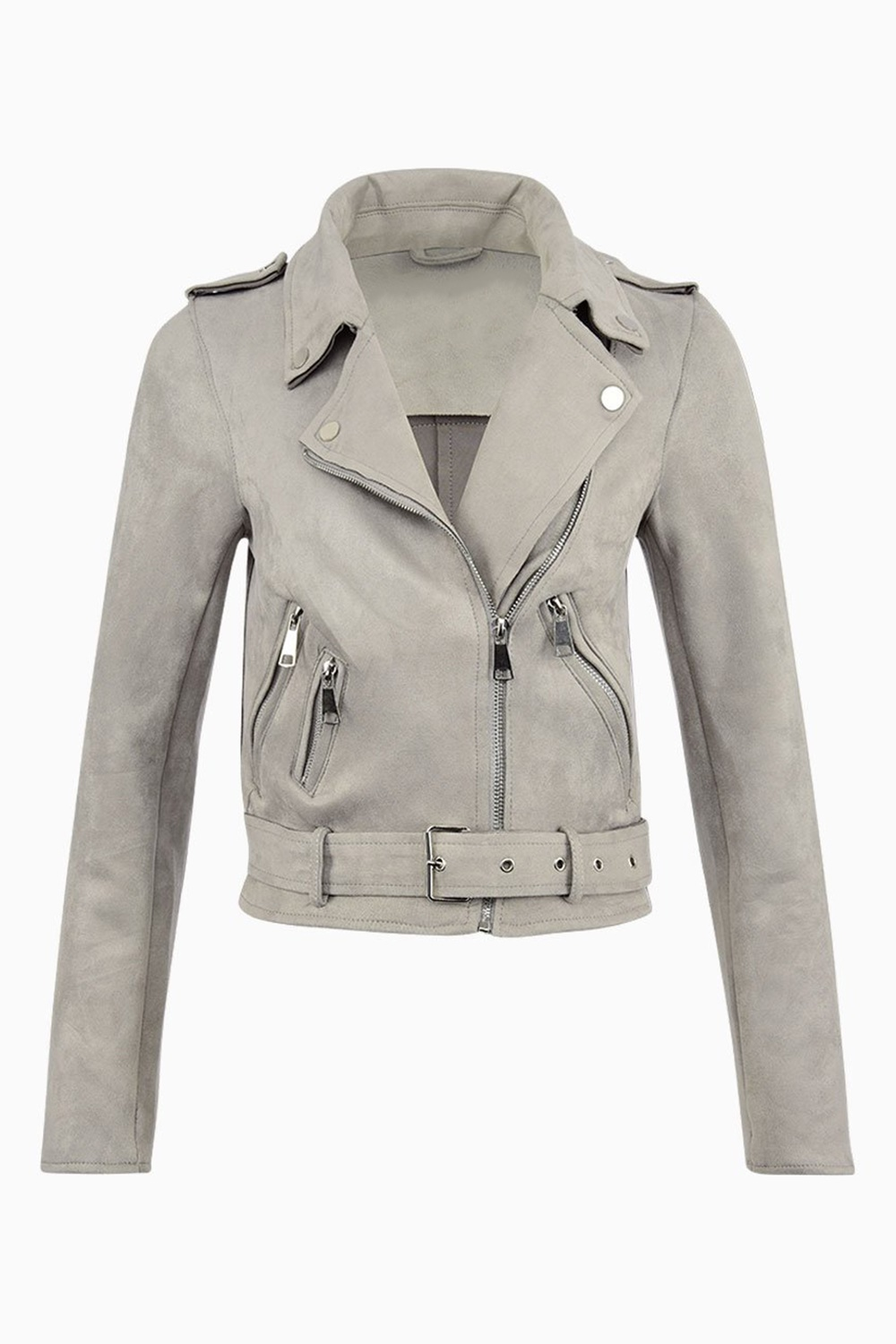 Suede Zipper Jacket - Light Grey