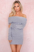 DM Off-Shoulder Dress - Grey