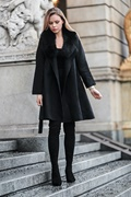 DM Long black virgin wool coat - New York