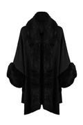 DM Black faux fur poncho - Dilara