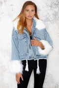 DM Blue denim jacket with faux fur - Kayla