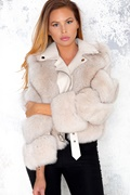 DM Hanna Leather/Fur Biker Jacket - Gray/Beige