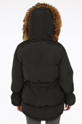 DM Black padded jacket with fur collar - Jerusalema