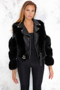 DM Hanna Leather/Fur Biker Jacket - Black
