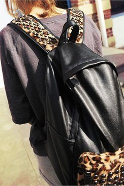 Studded Leopard Backpack