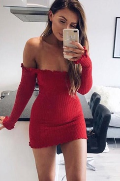 Kendra Knitted Dress - Red