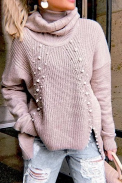 Pearl knit sweater - Pink
