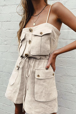 Beige pantsuit with buttons - Sand