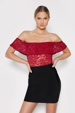 Bella Lace Top - Red