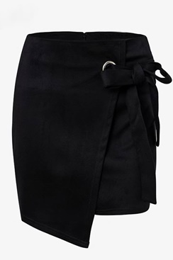 Black Asymmetric Suede Skirt
