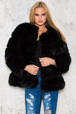 Black Fluffy Oversized Jacket