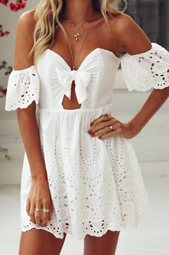 Bow Dress - White