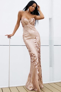 Chandelier Maxi Dress - Rose Gold