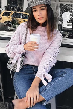 Chic Knit Sweater - Purple