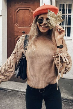 Chic Knit Sweater - Sand