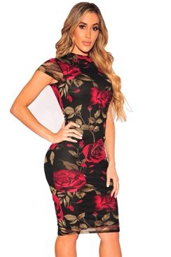 Floral Dress - Red Rose