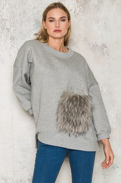 Fluffy Pocket Sweater - Grey