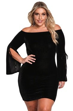 Laura Velvet Dress - Black