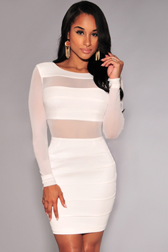 Partition Dress - White