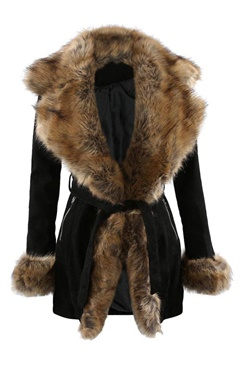 Kappa i fuskpäls - Black/Brown Dolce Fur Coat