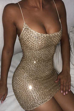 Gold pearl party dress - Finest