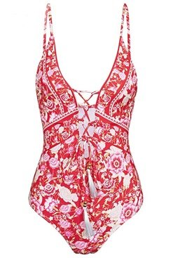 Floral Swimsuit - Red