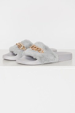 Gold Chain Slippers - Grey