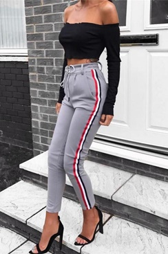 Grey Striped High Waist Pants