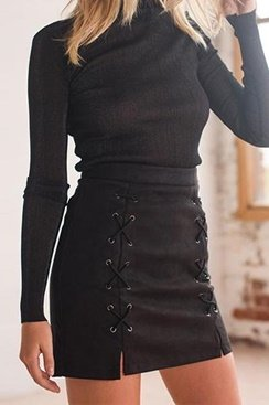 Lace Up Skirt - Black