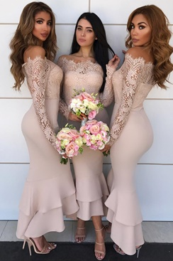 Long Bridesmaid Dress - Creme
