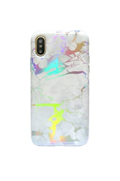 Mobilskal för iPhone - Laser Chrome White Marble