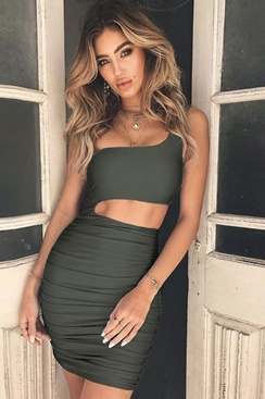 Lion Dress - Army Green
