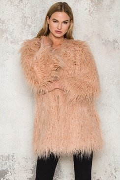 Long Cruella Jacket - Peach