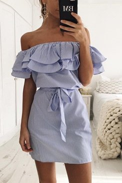 Maddie Dress - Blue/White