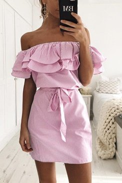 Maddie Dress - Pink/White