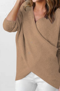 Maggie Wrap Sweater - Brown